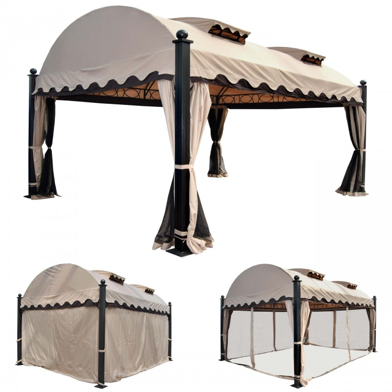 auvent et barnum pergola daroca gazebo 10cm en aluminium de luxe cadre flanc moustiquaire 4. Black Bedroom Furniture Sets. Home Design Ideas