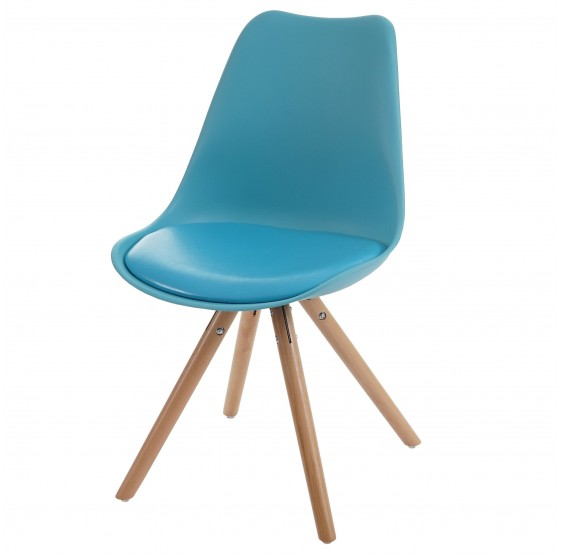 4x Chaise Malmö T501, Retro Design ~ turquoise, similicuir siège turquoise, despieds légers