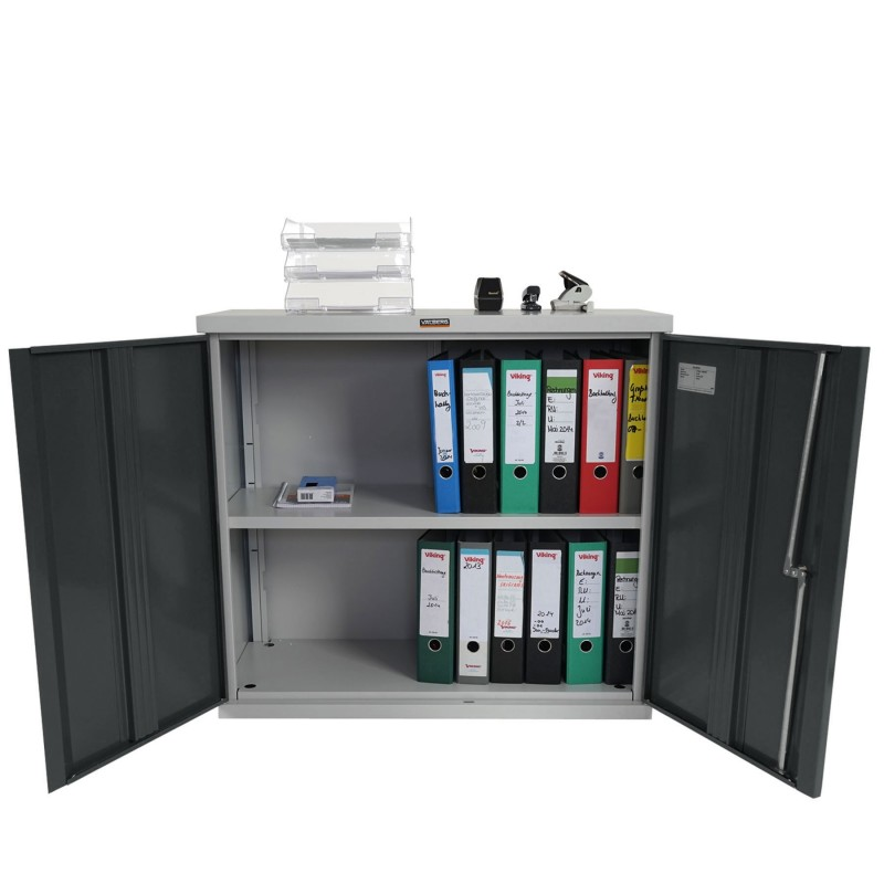 Armoire de bureau sciazza m tallique gris anthracite for Meuble nuance