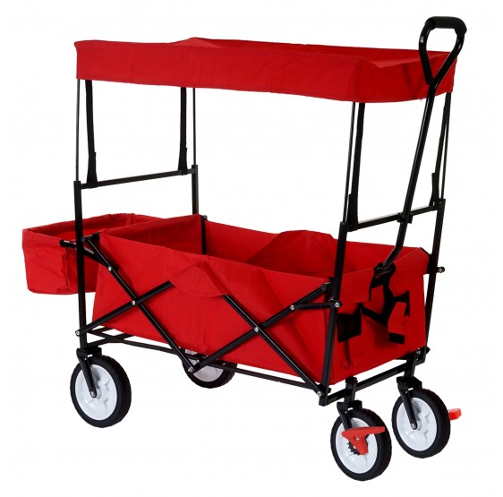 chariots pliables Morley, chariot dolly porte-bouteille incl. toit ~ rouge avec frein
