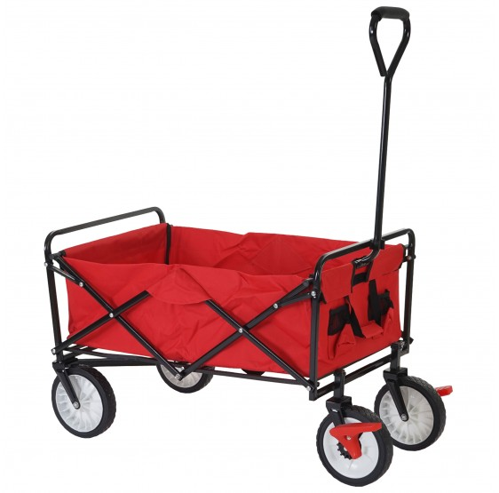 chariots pliables Morley, porte-bouteilles chariot dolly ~ rouge avec frein