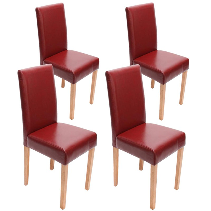 chaises lot de 4 chaises salle manger similicuir rouge pieds en bois massif. Black Bedroom Furniture Sets. Home Design Ideas