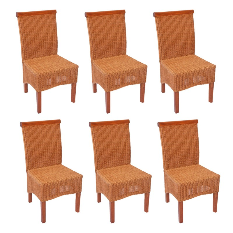chaises lot de 6 chaises salle manger en rotin tress sans coussin de si ge. Black Bedroom Furniture Sets. Home Design Ideas