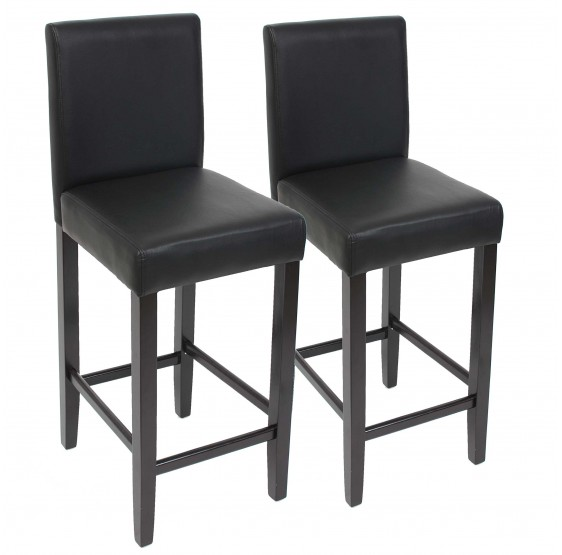 Tabouret de bar lot de 2 tabouret de bar chaise de bar en cuir pieds noir fonc for Chaise de bar en cuir