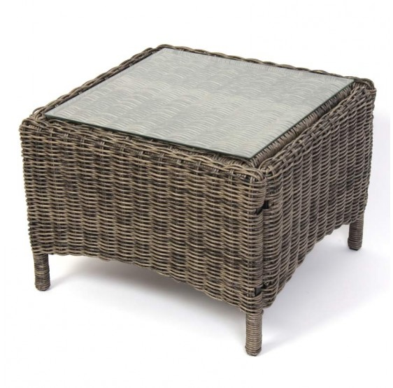 Table basse avec pouf en rotin for Table ronde rotin plateau verre