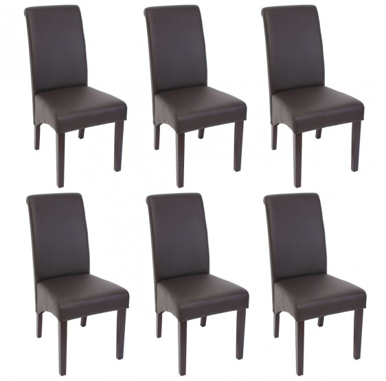 Lot de 6 chaises ANAFI en simili cuir brun