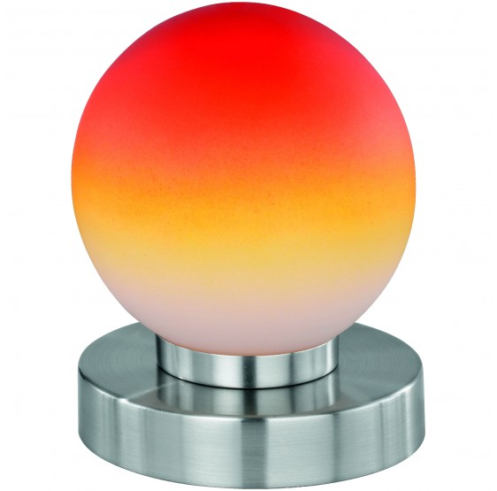 Lampe tactile, en nickel, verre opale orange, BORGO