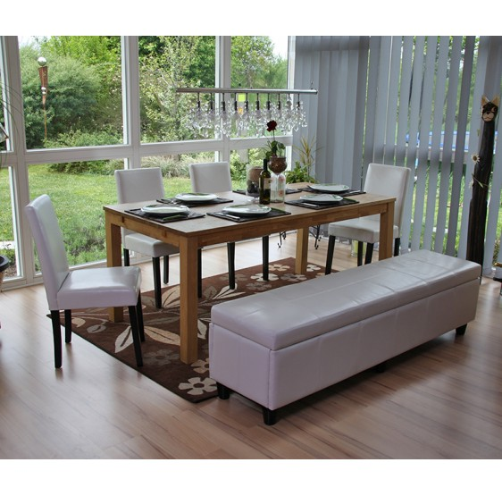 salon de jardin ensemble banc avec rangement kriens xxl 4 chaises littau cuir blanc. Black Bedroom Furniture Sets. Home Design Ideas