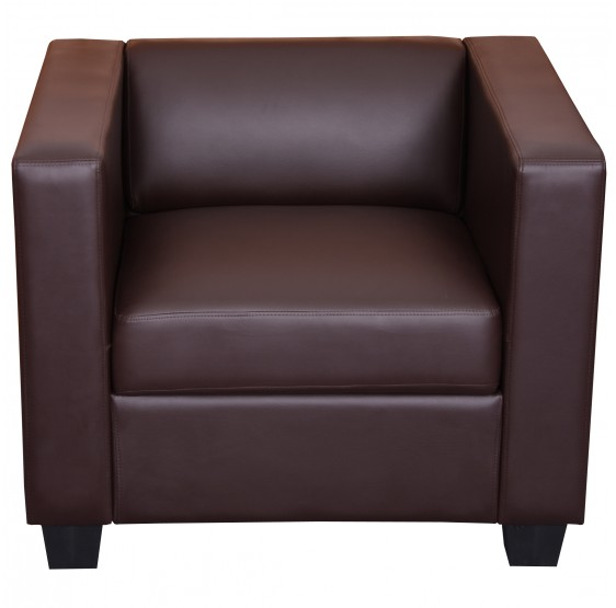 Fauteuil de salon, simili cuir marron, MIMOSA