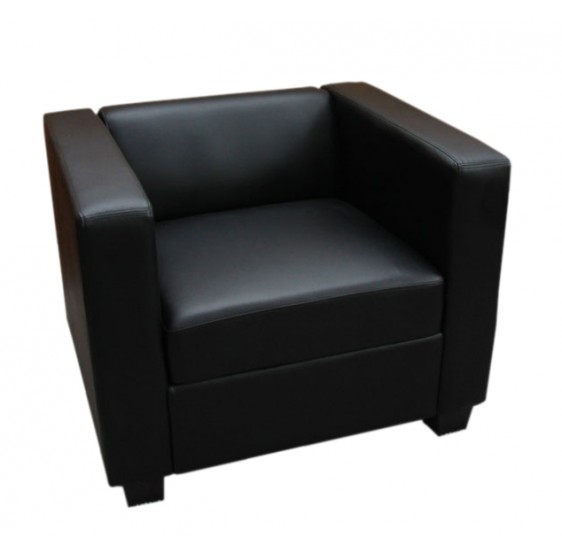 fauteuils fauteuil de salon simili cuir lille noir. Black Bedroom Furniture Sets. Home Design Ideas
