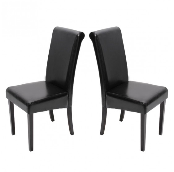 chaises cuir noir pieds fonc es lot de 2 chaises salle manger novara ii. Black Bedroom Furniture Sets. Home Design Ideas