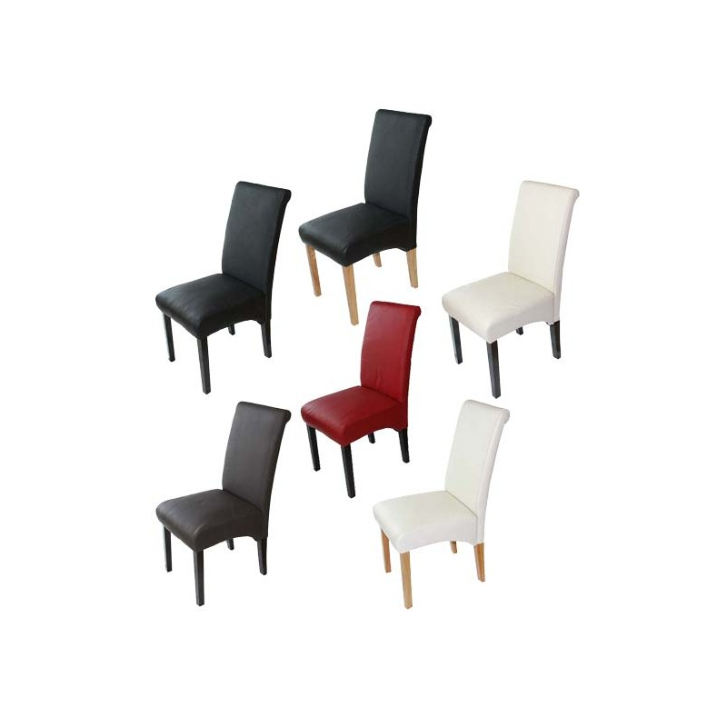 chaises lot de 2 chaises salle manger latina cuir noir pieds fonc es. Black Bedroom Furniture Sets. Home Design Ideas