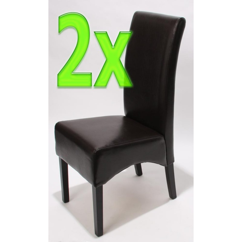 chaises 2x chaises salle manger latina cuir brun pieds fonc es. Black Bedroom Furniture Sets. Home Design Ideas
