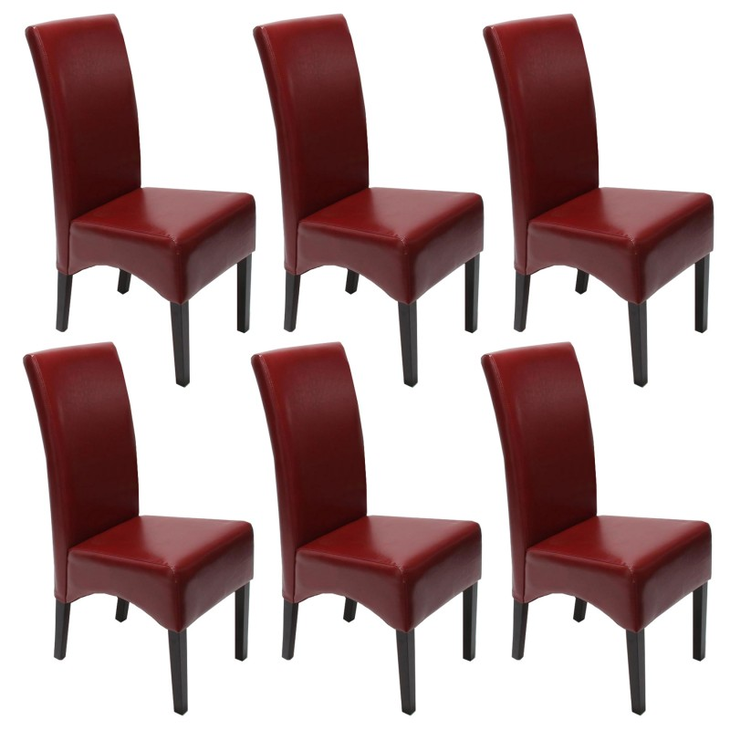 chaises lot de 6 chaises salle manger latina cuir rouge pieds fonc es. Black Bedroom Furniture Sets. Home Design Ideas