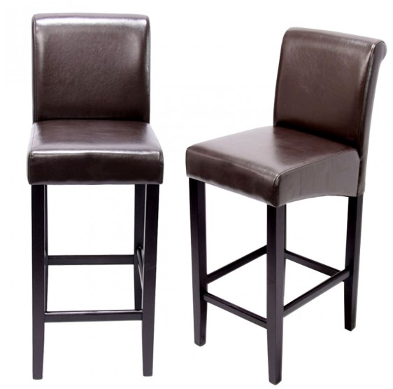 tabouret de bar lot de 2 tabouret de bar tabouret de bar lancy brun pieds fonc es cuir. Black Bedroom Furniture Sets. Home Design Ideas