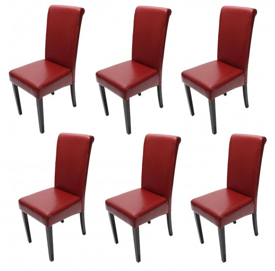 chaises cuir rouge pieds fonc es lot de 6 salle fauteuil novara ii. Black Bedroom Furniture Sets. Home Design Ideas