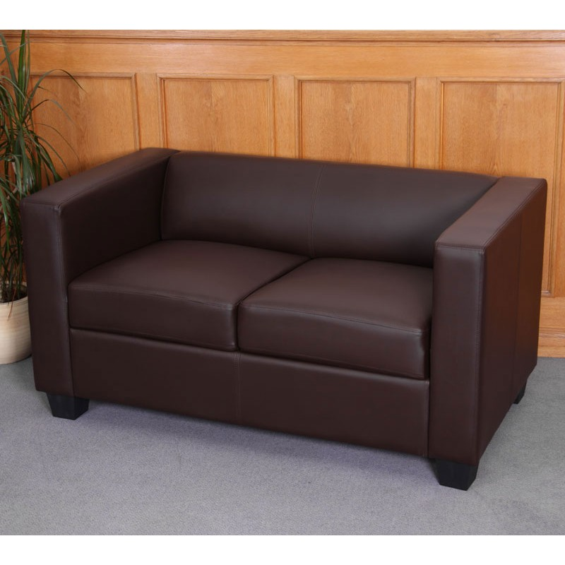 Canap s canap 2 places salon canap simili cuir lille caf - Canape simili cuir marron ...