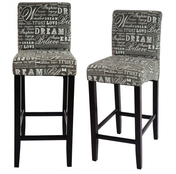 tabouret de bar lot de 2 tabouret de bar tabouret de bar lancy lettrage gris pieds fonc es. Black Bedroom Furniture Sets. Home Design Ideas