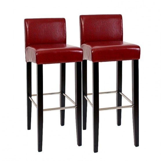 Lot de 2 tabourets de bar MODICA, en simili cuir rouge
