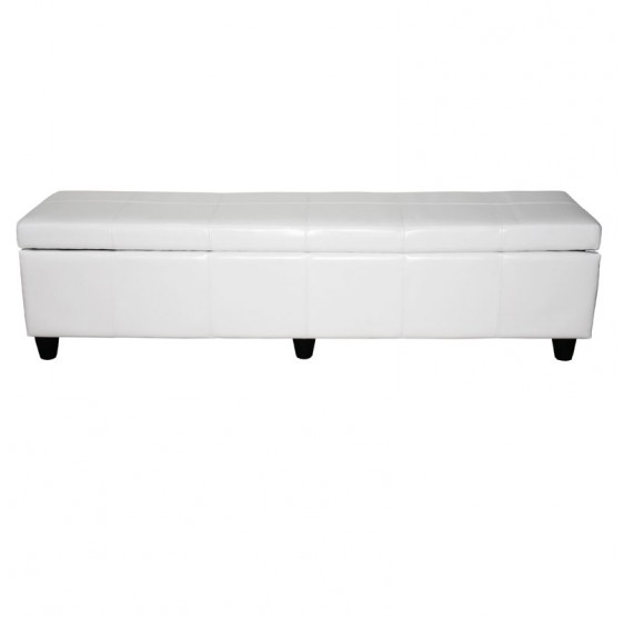 bancs et coffres coffre de rangement kriens xxl cuir cuir synth tique 180x45x45cm blanc. Black Bedroom Furniture Sets. Home Design Ideas