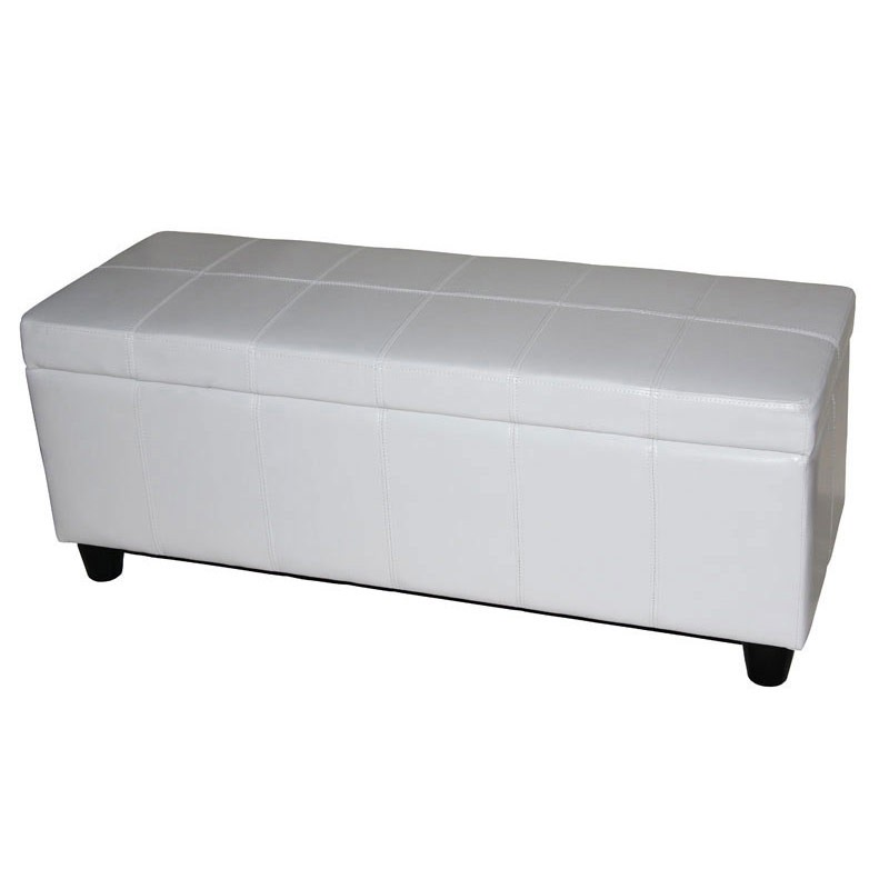 bancs et coffres coffre de rangement banc kriens cuir cuir artificiel 11lot de 245x45cm blanc. Black Bedroom Furniture Sets. Home Design Ideas