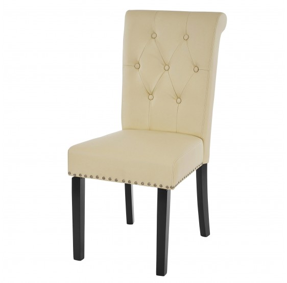 , rivets fauteuil chaise ~ imitation cuir, crème, jambes sombres 2x salle à manger chaise Chesterfield II