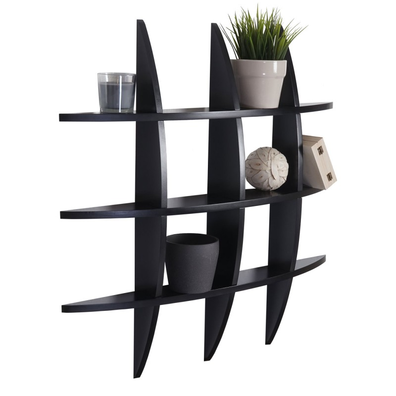 tag re murale nantes suspendu tag re biblioth que 75x75x12cm noir nuance meuble. Black Bedroom Furniture Sets. Home Design Ideas