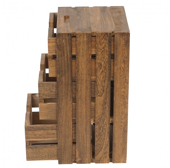 Chest T294, commode Crate look Vintage Shabby, 53x31x26cm, brun