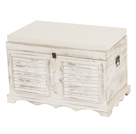 vintage holztruhe coffre de rangement de bench shabby regard 50x7lot de 645cm vintage blanc. Black Bedroom Furniture Sets. Home Design Ideas