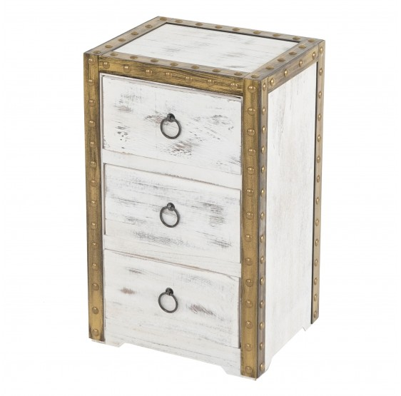 Commode Duran, commode armoire, 3 tiroirs 54x33x26cm regard Vintage Shabby ~ blanc