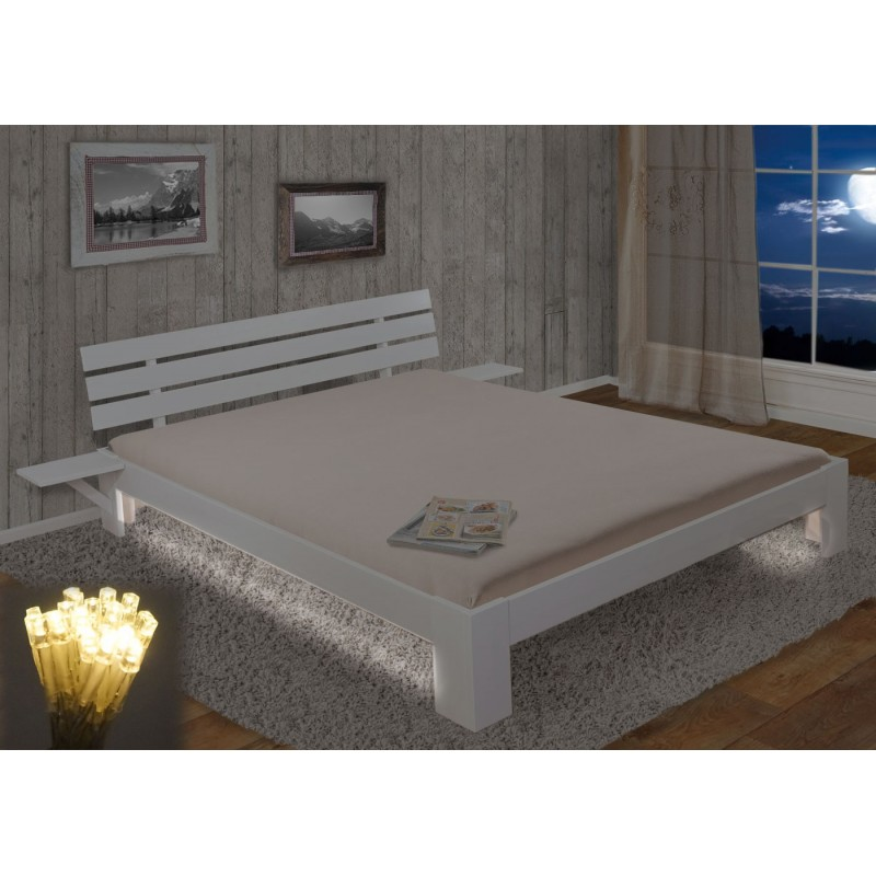 lits et matelas perth lit double bois massif incl plateau lattes kiefer 160x200 peint en. Black Bedroom Furniture Sets. Home Design Ideas