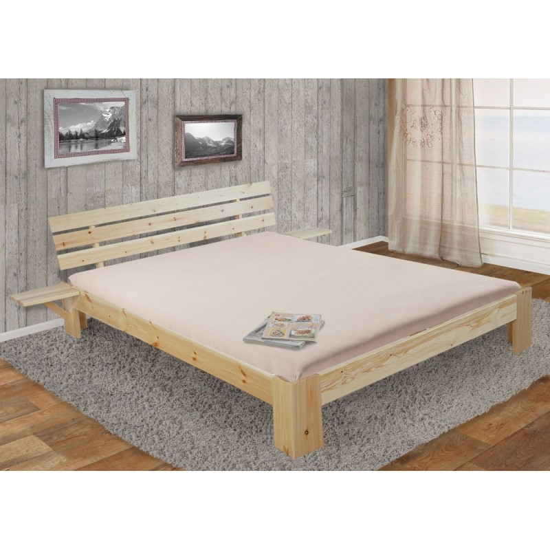lits et matelas perth lit double bois massif incl plateau lattes kiefer 160x200 vernis. Black Bedroom Furniture Sets. Home Design Ideas