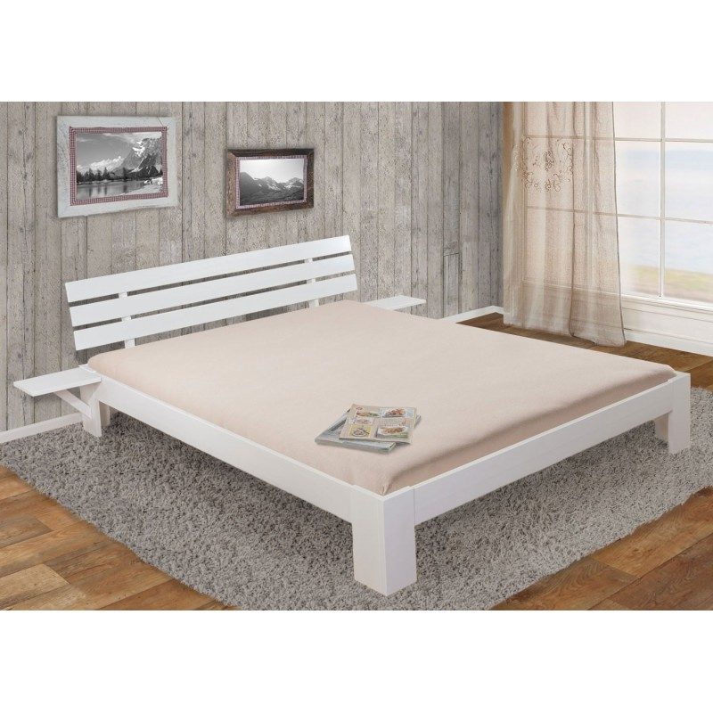 lits et matelas perth lit double bois massif incl laqu tag re lattes kiefer 160x200 blanc. Black Bedroom Furniture Sets. Home Design Ideas